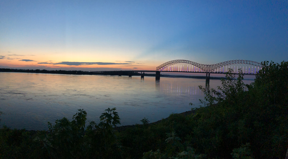Penultimate EWN stop on the Mississippi River with a view of the river and bridge at sunset
